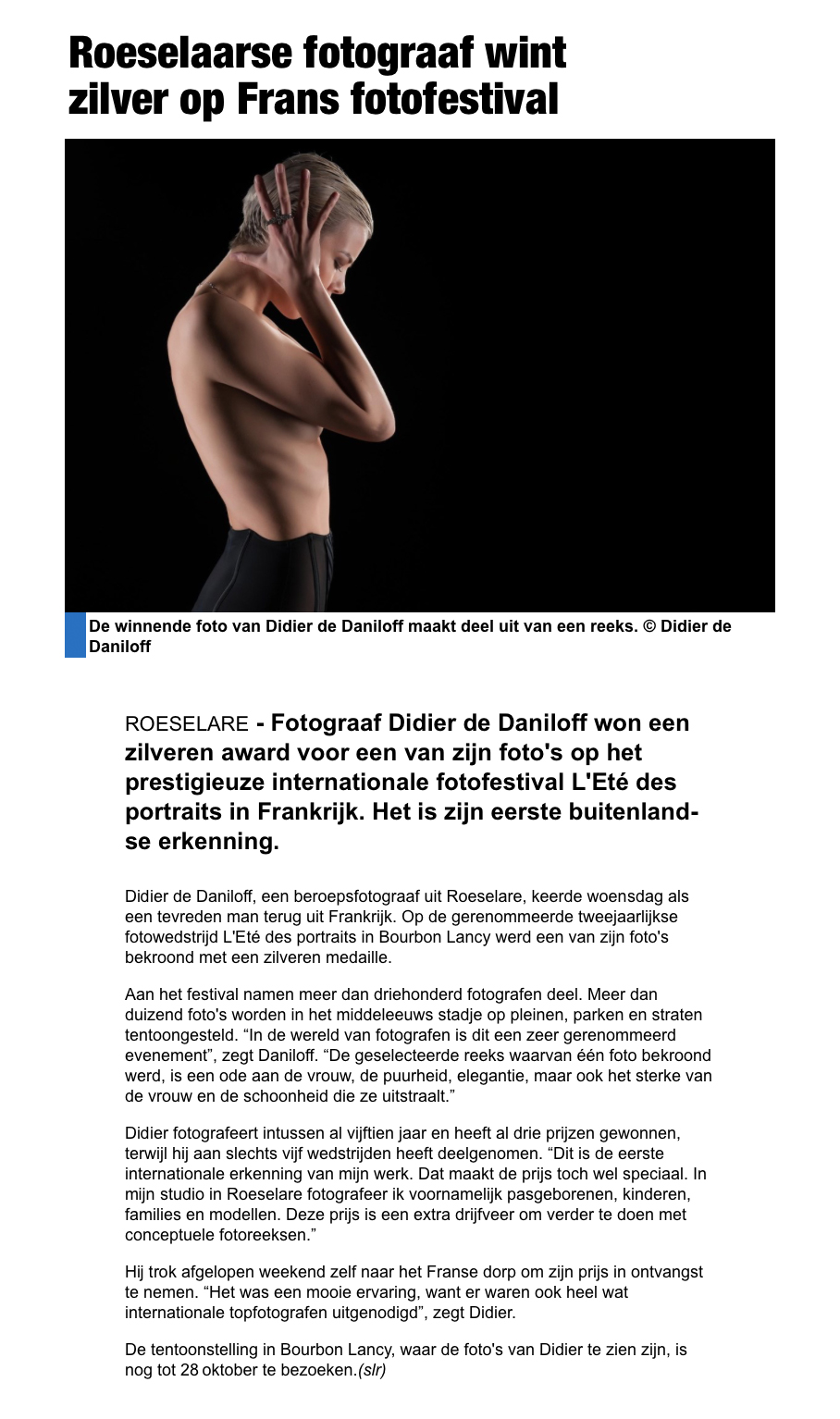 Krantenartikel Het Nieuwblad 28/07/2018